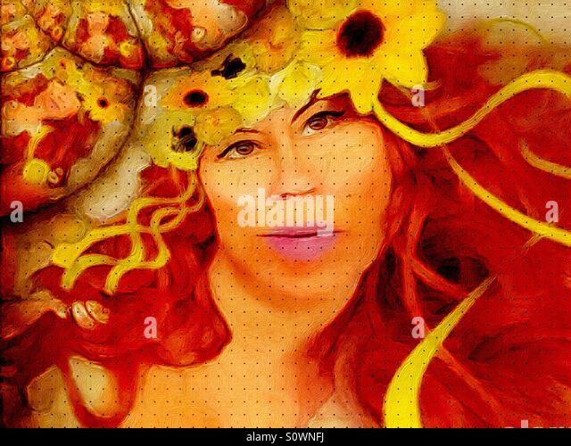 Woman with Red Hair and Sunflowers - Stock Image