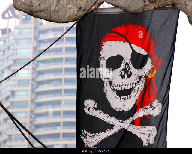 A Jolly Roger flag - Stock Image