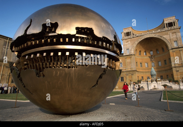 Vatican City Courtyard of the Pinecone giant sphere sculpture art - Stock Image