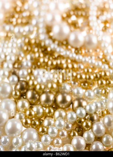 A creative shot of a swirl of Pearls - Stock Image