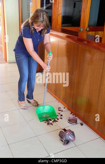 Chile Arica Avenida Rafael Sotomayor Hotel Amaru lobby business budget lodging Hispanic woman maid housekeeping - Stock Image