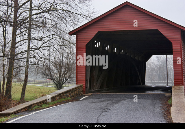 The Utica Mills Covered Bridge, Frederick, Maryland. - Stock Image