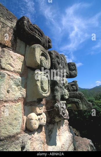 Honduras Copan Ruinas Maya ruins Mayan art architecture temple corner sculptures religion Central America - Stock Image