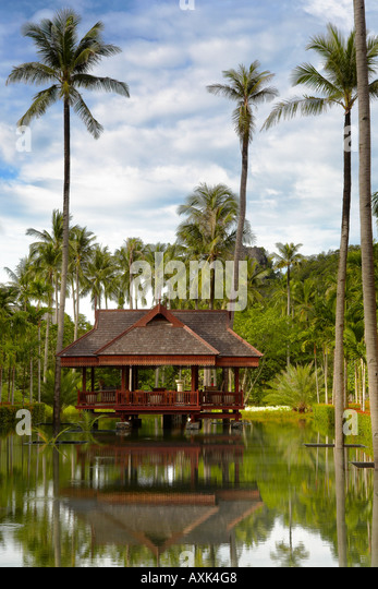 building in water in day with tall palm trees plants sky clouds blue white green reflection red brown - Stock Image