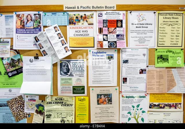 Hawaii Hawaiian Honolulu Hawaii State Library bulletin board announcements events community - Stock Image