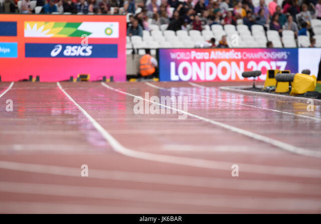 Wet track in the London Stadium at the World Para Athletics Championships - Stock Image