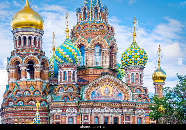 Church of the Savior on Spilled Blood, St Petersburg Russia - Stock Image