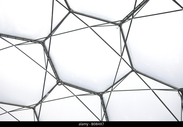 Iron structures of the Eden project biome roof in Cornwall England - Stock Image