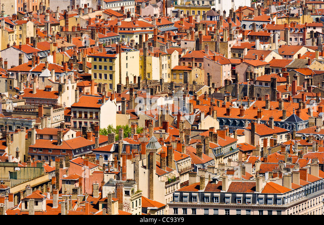 Old town Vieux Lyon from Fourvière Hill, France (UNESCO World Heritage Site) - Stock-Bilder