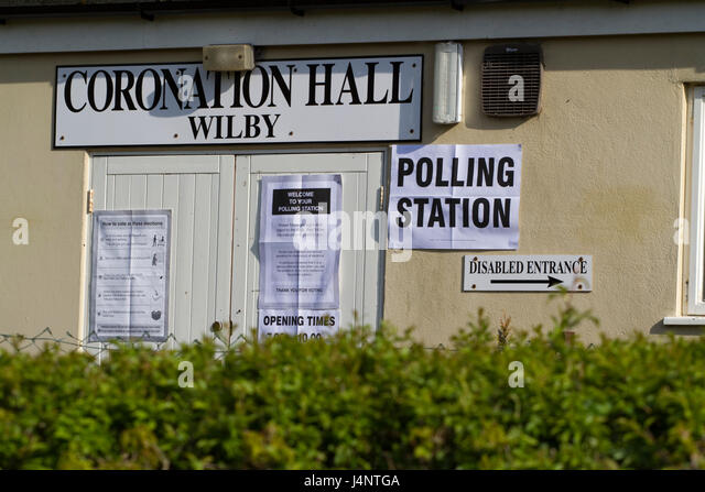 Polling Station sign on a Suffolk village hall - Stock Image