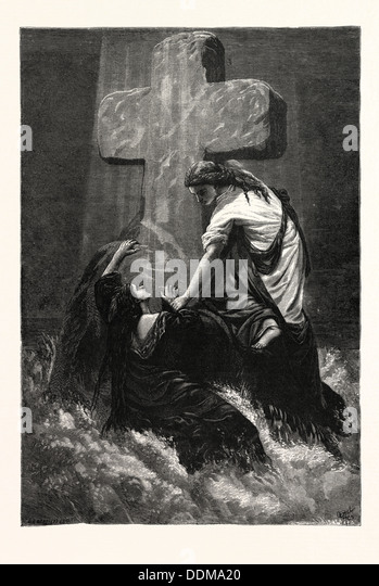 THE HELPING HAND. Religious print. - Stock Image