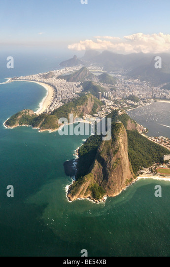 Aerial view of Rio de Janeiro and the Sugar Loaf, Brazil, South America - Stock-Bilder
