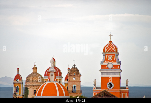 Colonial Granada architecture, Cathedral and churches bell towers, overlooking Lake Nicaragua - Stock Image