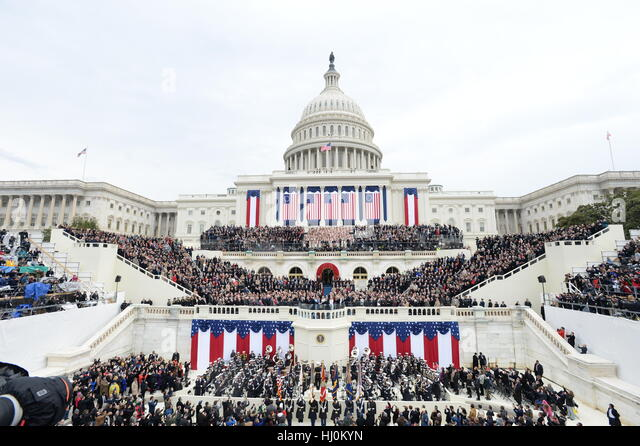 President Donald Trump takes the Oath of Office at his inauguration on January 20, 2017 in Washington, DC Trump - Stock-Bilder