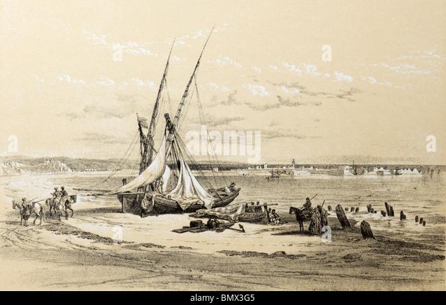 port of tyre lebanon by david roberts 1839 - Stock Image