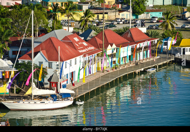 Looking down on the shops and sailboat at Redcliffe Quay, St Johns, Antigua from Caribbean cruise ship - Stock Image