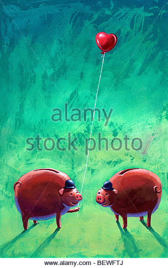 Business pigs in love - Stock Image