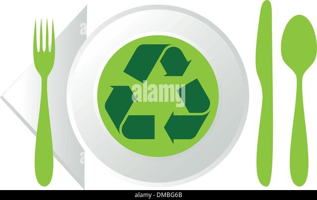 plate with recycling symbol - Stock Image