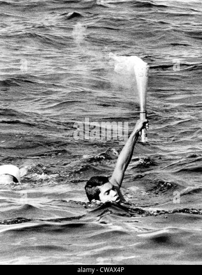 1968 Olympics, Olympic Torch being carried to  Mexican soil, Veracruz, Mexico, 10-06-1968.. Courtesy: CSU Archives - Stock Image