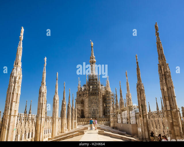 Duomo cathedral in Milan, from the roof, Italy - Stock Image