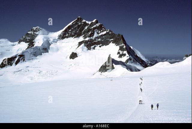 The Jungfrau and Jungfraujoch, Bernese Oberland, Switzerland - Stock Image
