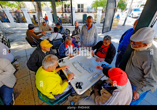 Domino Park Calle Ocho Little Havana The Cuban American distric  Miami Florida FL - Stock Image