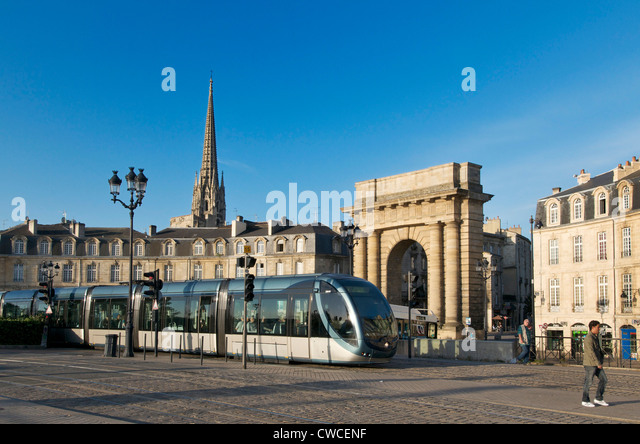 Public transport tram system in Bordeaux city centre, France, Europe - Stock Image