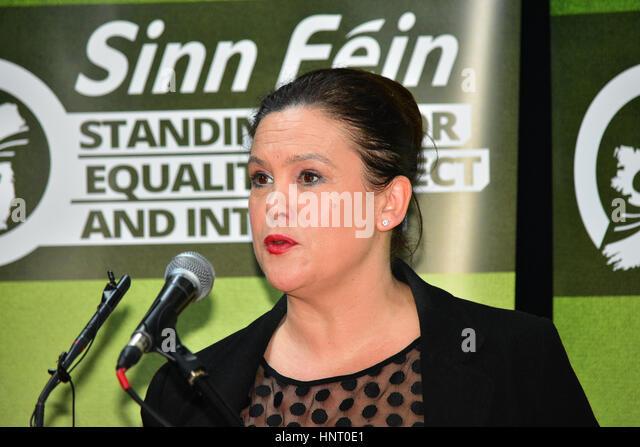 Armagh City, UK. 15th February 2017. Sinn Féin Irish TD Mary Lou McDonald addresses Media during the 2017 Manifesto - Stock Image