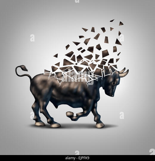Fragile bull market financial crisis concept as an economic symbol for a crumbling positive forecast and investments - Stock Image