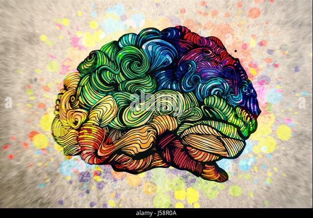 Brain doodle illustration with textures - Stock Image