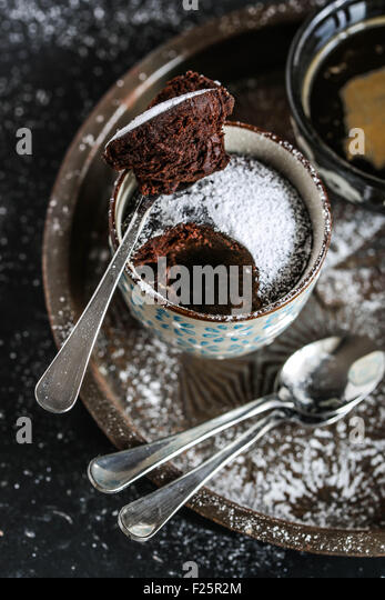Chocolate mug cake. - Stock Image