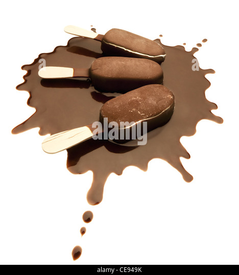 Ice Cream Chocolate Bars on a Chocolate Splash - Isolated - Stock Image