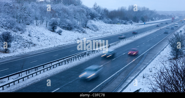 A1 winter traffic travel motorway - Stock Image