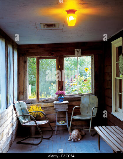 dog resting on screened in porch - Stock Image