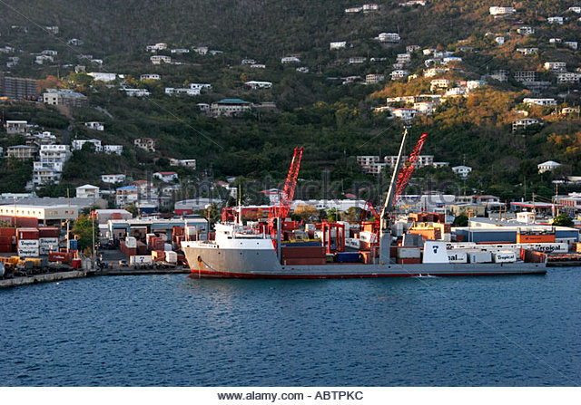 St. Thomas USVI Crown Bay commercial port ship cargo containers - Stock Image