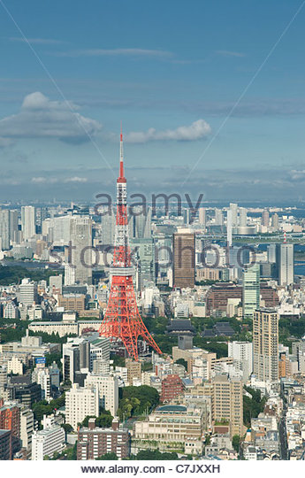 Tokyo skyline and Tokyo Tower Japan - Stock Image