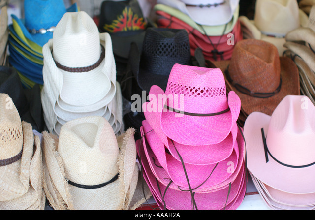 Florida, Zydeco Festival, Cajun, hats for sale, - Stock Image