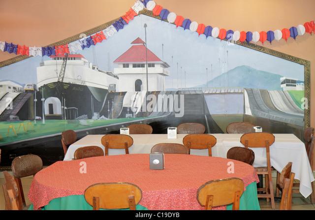 Panama Panama City Amador Causeway Calzada de Amador Bahia de Panama Panama Canal Isla Perico restaurant decor table - Stock Image