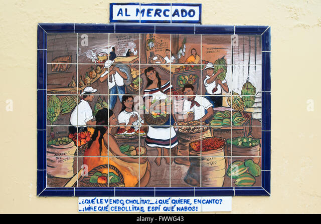 Tile painting of a market scene, San Jose Downtown, San José Province, Costa Rica - Stock Image
