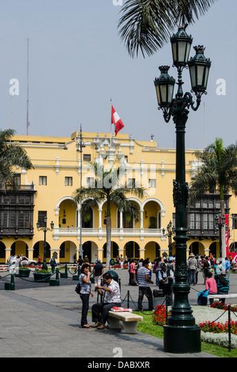 Municipal Palace of Lima, Plaza de Armas, Lima, Peru, South America - Stock Image