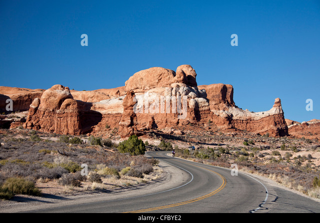 USA, United States, America, Utah, Arches, National Park, Rock, formations, Arches drive, adventure, dry, erosion, - Stock Image