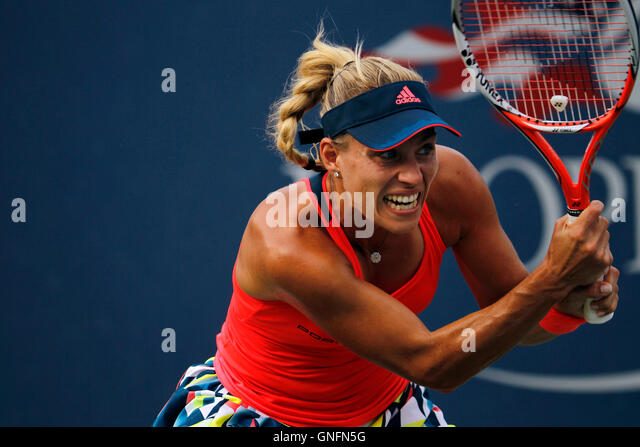 New York, United States. 31st Aug, 2016. Number 2 seed, Angelique Kerber of Germany during her second round match - Stock Image