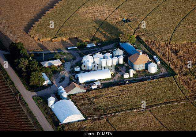 aerial photograph grain storage bins silos Iowa - Stock Image