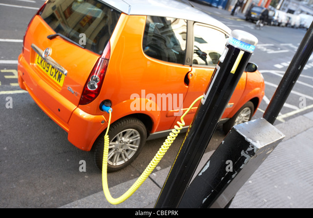 electric car charging point london england uk united kingdom - Stock Image