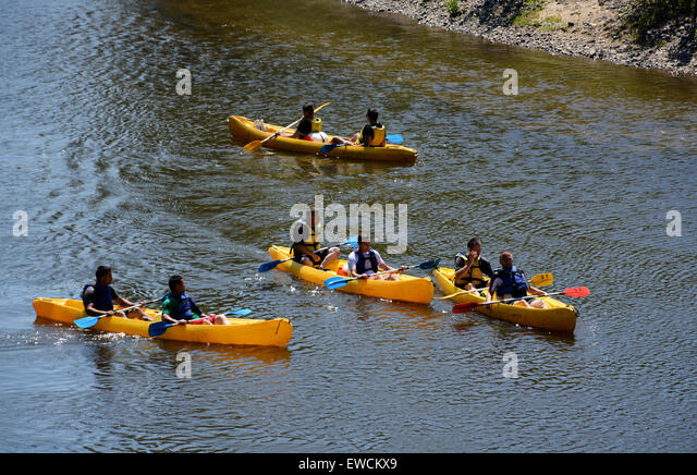canoeing on Allier river near Dallet Puy de Dome Auvergne France - Stock Image