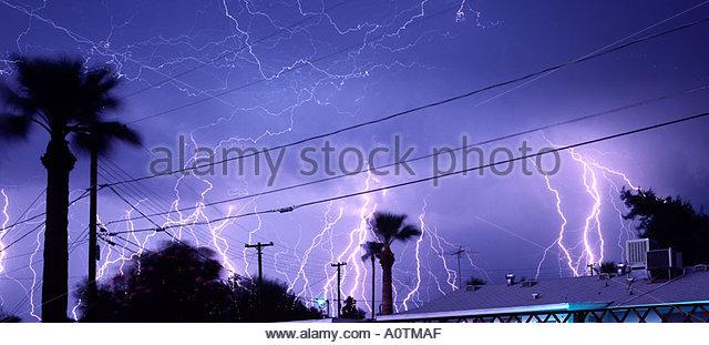 Severe lightning storm in Phoenix Arizona - Stock Image