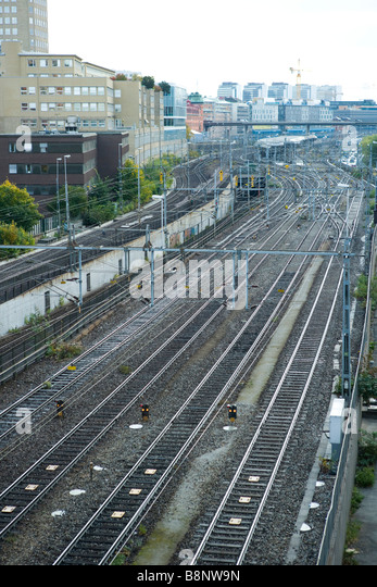 Sweden, Stockholm, railway switchyard - Stock Image
