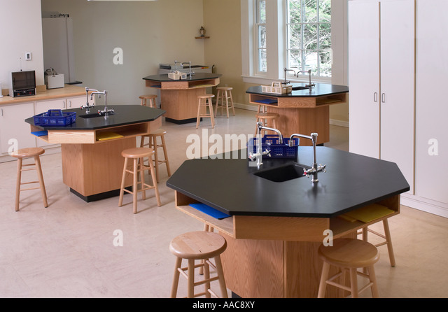 High School Science Chemistry Lab Empty Laboratory Class Room With Work Stations, Philadelphia, PA USA - Stock Image