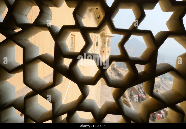 Amber Fort, outside Jaipur, in Rajasthan, India - Stock-Bilder