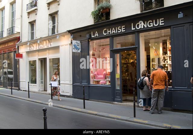 Trendy shops on Rue de Francs Bourgeois in Le Marais Paris France - Stock Image